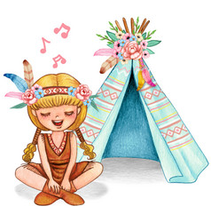 Cute watercolor blond girl with pigtails singing vector