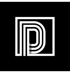 D capital letter made of stripes enclosed vector