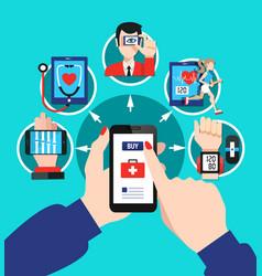 Digital healthcare options flat poster vector