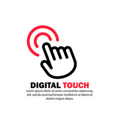 Digital touch icon clicking hand cursor on vector