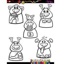 dog emotion set cartoon coloring book vector image