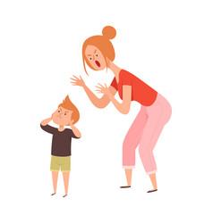 Family quarrel domestic abuse woman scream vector