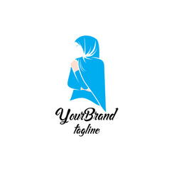 feminine fashion hijab logo template vector image