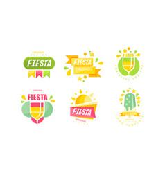fiesta logo and labels original design set vector image