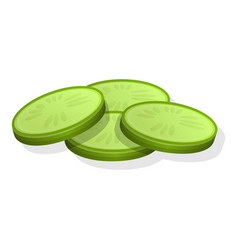 fresh cutted cucumber icon cartoon style vector image
