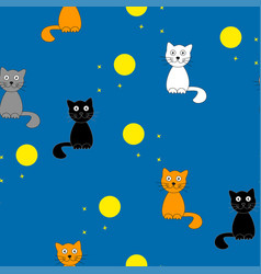 funny cartoon cats at night vector image