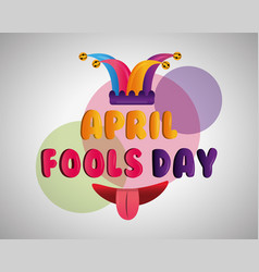funny mouth tongue out and jester hat fools day vector image