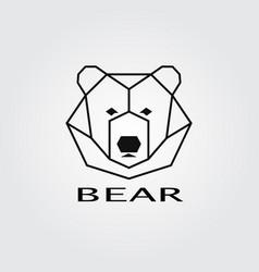 geometric head bear logo vector image