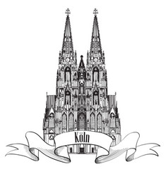 German city cologne travel symbol koln dom vector