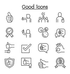 Good approve confirm verify quality icon set in vector