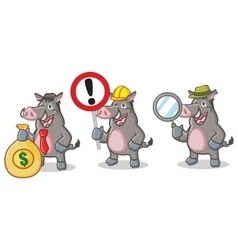 Gray Wild Pig Mascot with sign vector image vector image