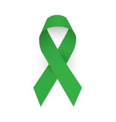 Green awareness ribbon symbol celebral palsy vector