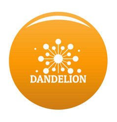 Growing dandelion logo icon orange vector
