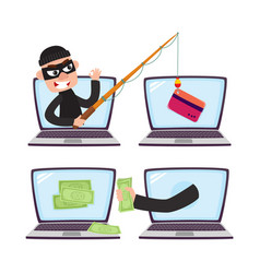 Hacker with fishing rod computer phishing attack vector