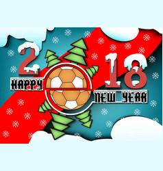 Happy new year and handball ball vector