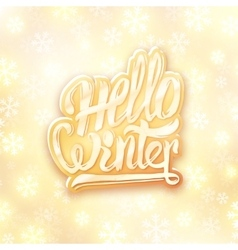 Hello winter golden typography label Greeting vector image