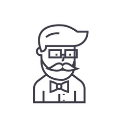 hipster beard man avatar line icon sig vector image