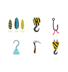 hook icon set flat style vector image