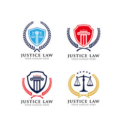 Justice law emblem logo design template vector
