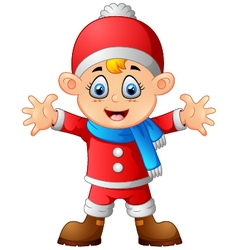 Kid wearing santa costume vector