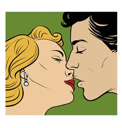 Kissing couple in retro style vector