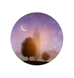 landscape with trees and the night sky with stars vector image