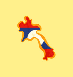 Laos - map colored with lao flag vector