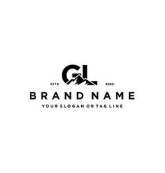 Letter gl mountain logo design vector