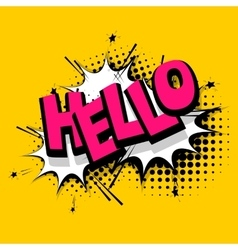 Lettering hello positive label balloon vector