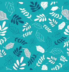Light teal tossed floral and leaves mix pattern vector