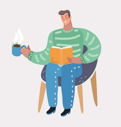 man sitting at chair and reading book vector image