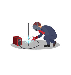 man welds metal stick construction works vector image