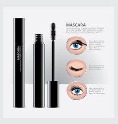 Mascara packaging with eye makeup vector