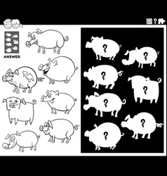 Matching shapes game with pigs color book page vector