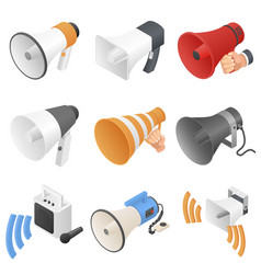 megaphone loud speaker icons set isometric style vector image