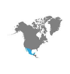 mexico is highlighted in blue on the north america vector image