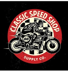 Motorcycle garage badge with dirty texture vector