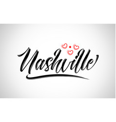 Nashville city design typography with red heart vector