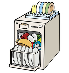 Open dishwasher with dishes vector