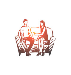 person psychologist therapy couch vector image