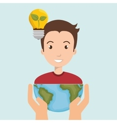 persons with planet isolated icon design vector image