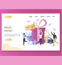 Prize draw website landing page design vector