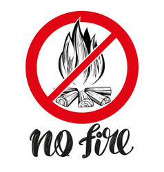 prohibiting sign no fire emblem calligraphic vector image