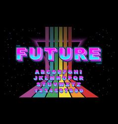Rainbow stylized vintage font vector