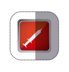 Red emblem syringe icon vector