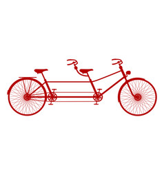 Retro tandem bicycle in red design vector