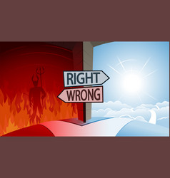 Right and wrong and road to heaven or hell concept vector