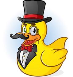 rubber duck gentleman cartoon vector image