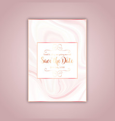 save the date invitation with pink marble texture vector image