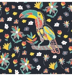 Seamless pattern with bird and flowers Toucan vector